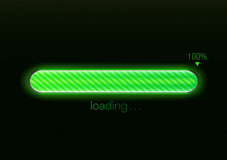 Modern green progress loading bar 100% vector illustration, technology concept