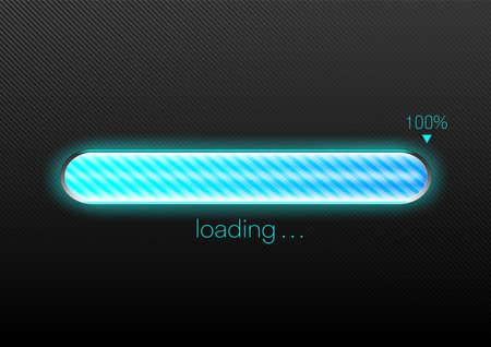 Modern blue progress loading bar 100% vector illustration, technology concept Stock fotó - 155312478