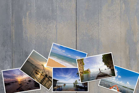 Photos stack on dirty vintage grunge peeling paint wooden background