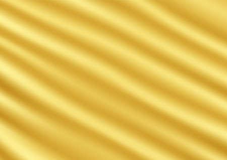 Wavy golden silk satin cloth texture abstract background vector illustration