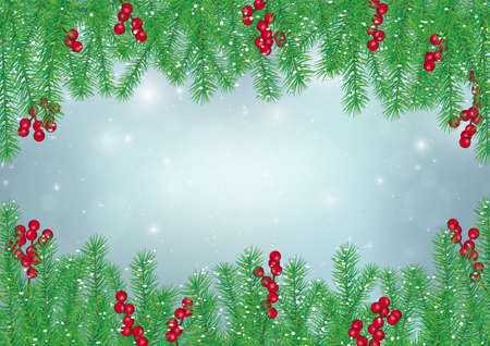 Pine leaves with holly berries frame on blue background, Christmas backdrop vector illustration