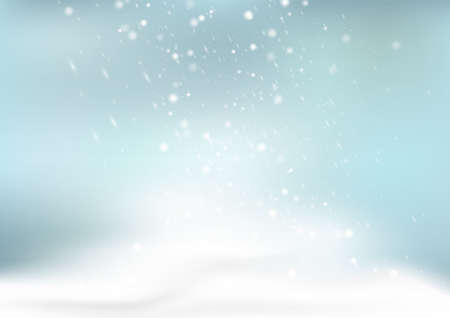 Falling snow and snowflakes on blue background, Christmas backdrop vector illustration