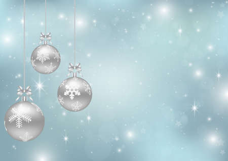 Christmas background with silver Christmas balls on blue backdrop vector illustration