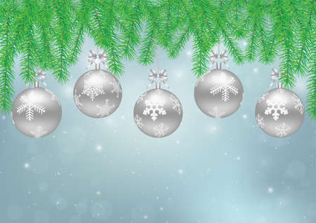 Hanging silver Christmas balls with pine leaves on blue background, Christmas backdrop vector illustration Standard-Bild - 157734642