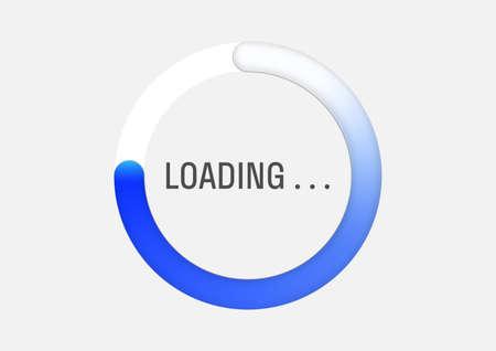 Blue circle progress loading bar vector illustration 3d