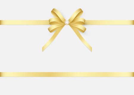 Decorative golden bow with diamond and ribbon vector illustration