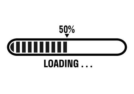 Black and white progress loading bar vector illustration