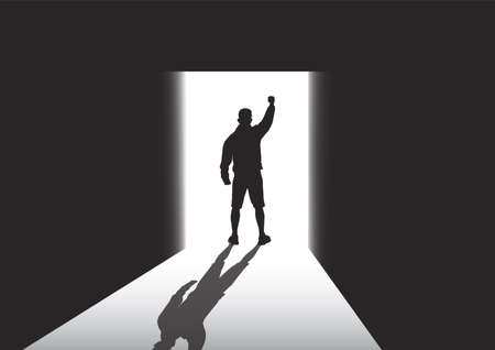 Silhouette of man standing at the door in the dark room with fist raised up facing the light, success, achievement and winning concept vector illustration Illusztráció