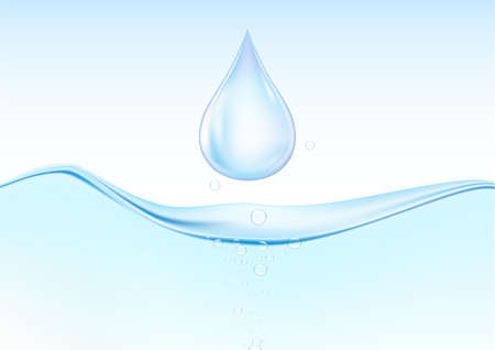 Falling blue water drops on water surface with air bubbles vector illustration