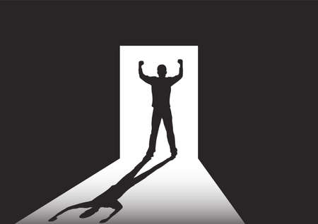 Silhouette of man standing at the door in the dark room with fists raised up facing the light, success, achievement and winning concept vector illustration