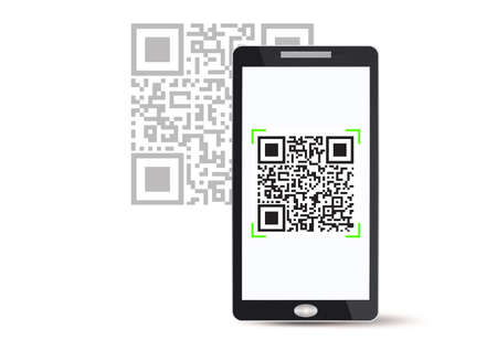 Smartphone scanning qr code vector illustration Illusztráció