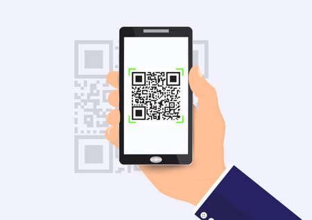 Businessman's hand holding smartphone scanning qr code vector illustration