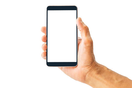 Hand holding white screen mobile phone isolated on white background