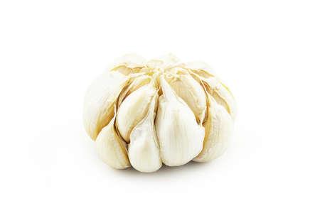 Closeup of garlic isolated on white background