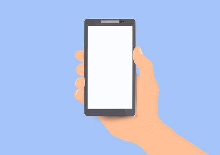 Hand holding white screen smartphone vector illustration