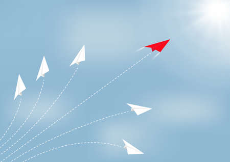Paper airplane competition with red airplane ahead, business competition leadership ambitious successful goal concept vector illustration 일러스트