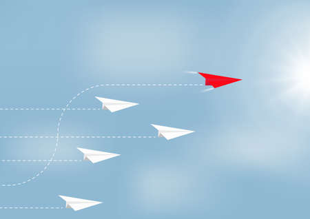 Paper airplanes flying with red airplane changing direction ahead, business competition leadership ambitious successful goal concept vector illustration
