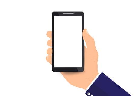 Businessman's hand holding white screen smartphone vector illustration 일러스트
