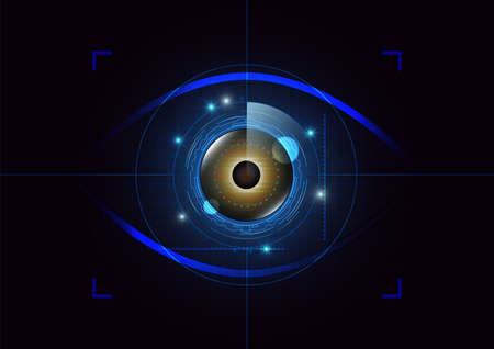 Futuristic eye detection technology concept with binary code vector illustration