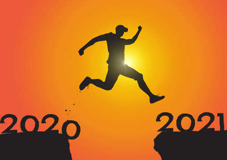 Silhouette of man jumping from 2020 to 2021 on sunrise background, successful new year concept vector illustration