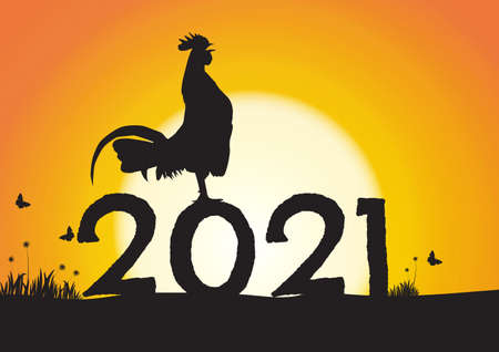 Silhouette of chicken crowing on number 2021 on sunrise background, new year celebration concept vector illustration