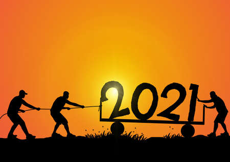 Silhouette of men helping push and pull 2021 on golden sunrise background, happy new year concept vector illustration
