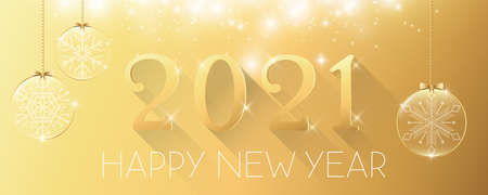 Happy New Year 2021 glitter golden background with Christmas glass ball vector illustration 일러스트