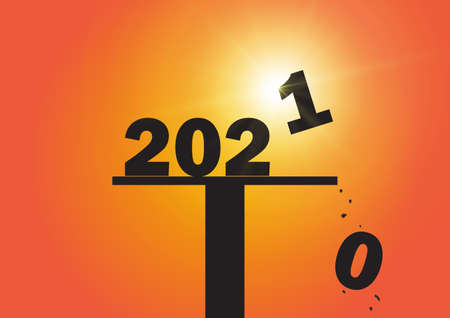 Silhouette of falling number zero and replacing with number one, Happy New Year 2021 concept vector illustration