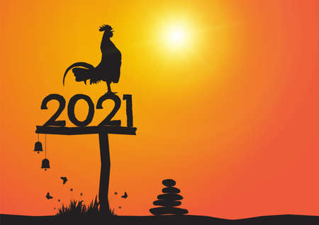 Silhouette of chicken crowing on number 2021 on sunrise 일러스트