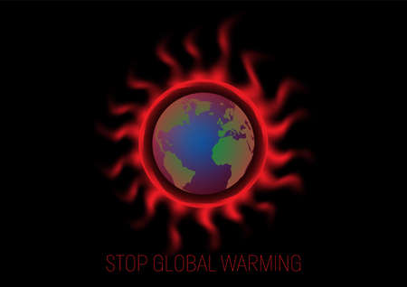 Heat wave around earth, global warming environmental concept vector illustration