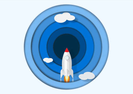 Rocket launch, business start up concept paper art vector illustration Illusztráció