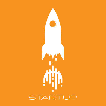 White rocket launch flat icon, business start up concept vector illustration Illusztráció