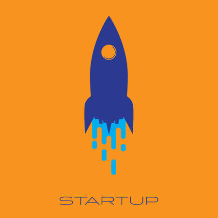 Blue rocket launch flat icon, business start up concept vector illustration