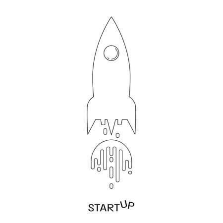Black and white rocket launch flat icon, business start up concept vector illustration