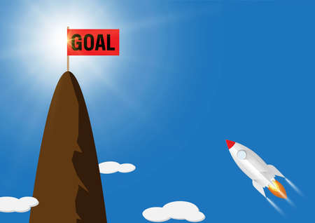 Rocket flying to flag with text goal on top of mountain, business target concept vector illustration