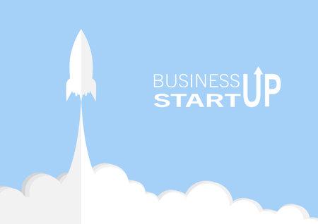 Rocket launch, business start up concept paper art vector illustration 일러스트