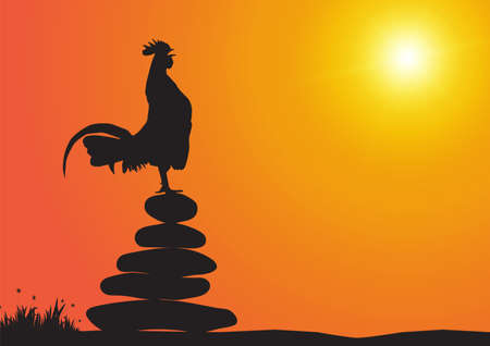 Silhouette of chicken crowing on stone pile on sunrise background vector illustration