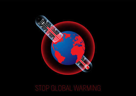 Thermometer with rising temperature inside planet earth, global warming environmental concept vector illustration