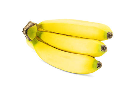 Fresh yellow banana cluster isolated on white background with clipping path