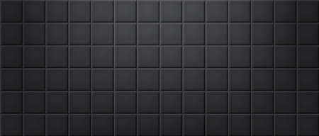 Black ceramic tiles wall texture abstract background vector