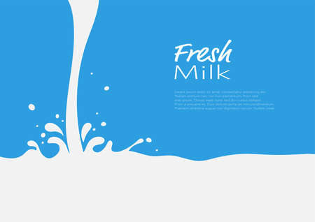 Pouring milk with splash abstract background vector illustration