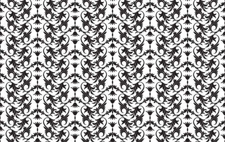 Black and white seamless floral pattern abstract background vector illustration