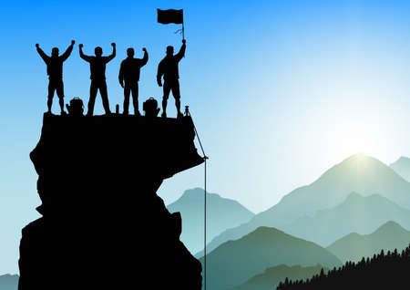 Silhouette of men standing on top of mountain with cheerful on sunrise background, success, achievement,victory and winning teamwork concept vector illustration