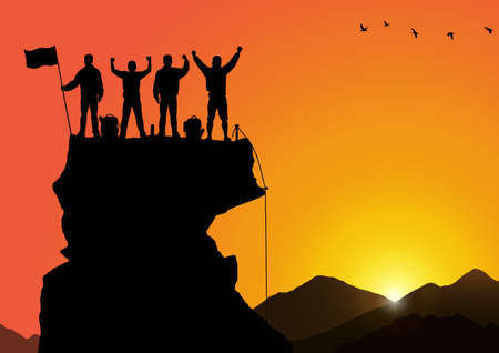Silhouette of men standing on top of mountain with cheerful on golden sunrise background, success, achievement,victory and winning teamwork concept vector illustration