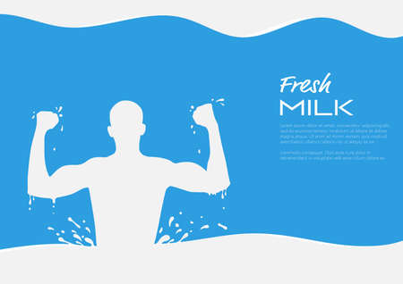 Energetic strong milk man with milk splash, healthy drinking milk concept vector illustration