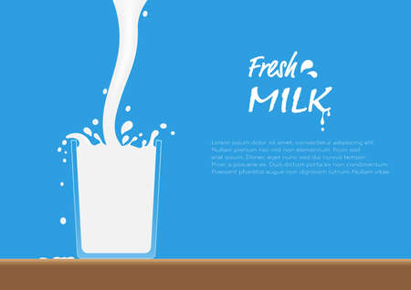Fresh milk pouring into glass on table with splash, healthy drinking milk concept vector illustration Illustration