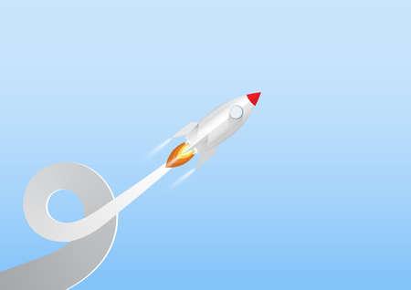 Rocket launch, business start up concept paper art vector illustration Illustration
