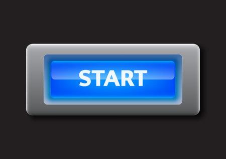 Blue start button vector illustration Illustration
