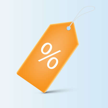 Orange price tag with percentage sign, shopping discount sign concept vector illustration