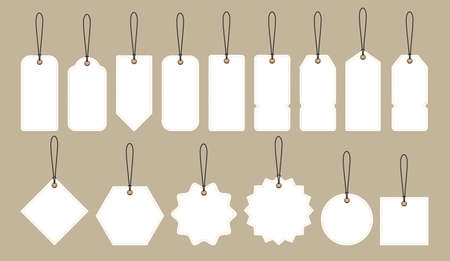 White price tags collection, shopping discount concept vector illustration Illustration